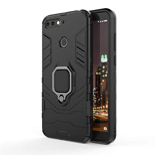 CHcase Huawei Honor 7A/Y6 2018/Enjoy 8E Hülle, Hybrid 2in1 TPU+PC Schutzhülle Rugged Armor Car Mount Hülle Cover Dual Layer Bumper Backcover mit Ständer für Huawei Honor 7A/Y6 2018/Enjoy 8E -All Black