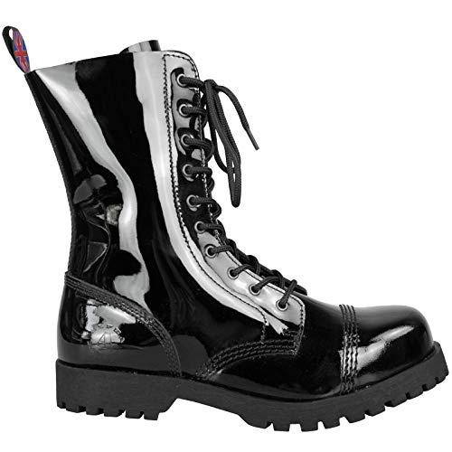 Alpha Rangers 10-Loch Boot Ranger Festival Army Gothic Leder Springerstiefel Lack Patent Schwarz 5015 UK 11 / EU 45