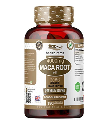 Maca Root 4000mg Peruvian Ginseng with 20mg Organic Black Pepper - 180 Vegan, Vegetarian, Non-GMO Capsules - Not Tablets or Powder – 6 Month Supply for Men and Women - Made in UK by Health Remit