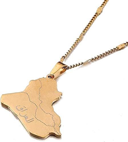 banbeitaotao Collar, Collar, Acero Inoxidable, Nombre de Alá, Mapa de Irak, Collares Pendientes, Mapa de Irak, joyería con Encanto