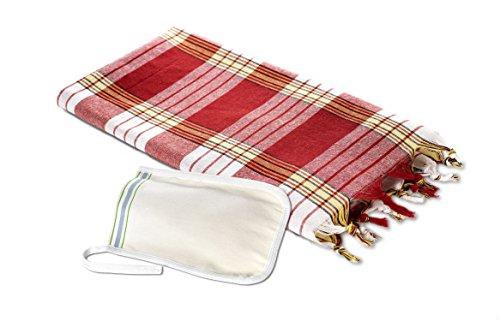 Carenesse Ensemble hamam comprenant 1 serviette de hammam rouge à carreaux et 1 gant exfoliant pour le festival.