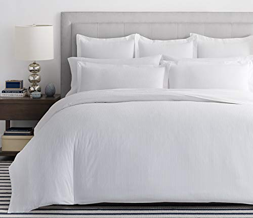 viceroy bedding 100% Egyptian Cotton, BOUTIQUE STRIPE Flat Sheet, WHITE, King Bed Size, 800 Thread Count