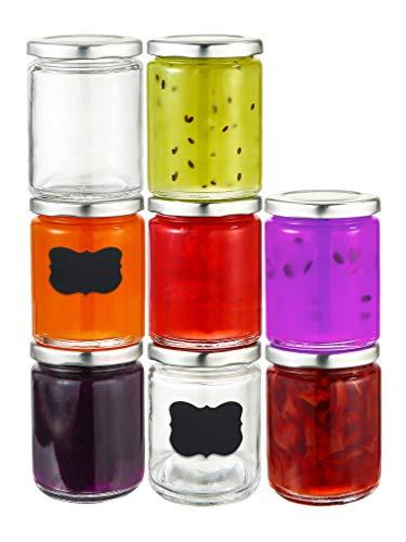25 Tarros de Cristal con Tapa de 230 ml - Hermeticos - Aptos para Lavavajillas - Botes para Conservas, Potitos, Mermelada