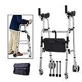 Lightweight Aluminium Elderly Wheeled Folding Walking Frame with Arm Rest Pad & Brakes,Suitable