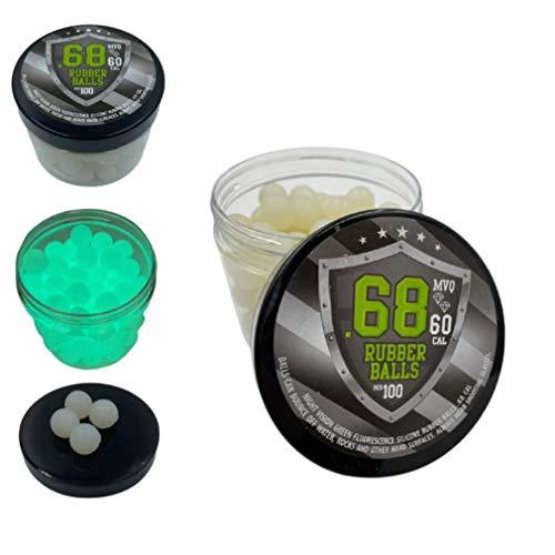 SSR 100 x Night Vision Silicon Rubber Balls in Green Fluorescence Paintballs Shining at Dark in 68 Cal. iluminando por la Noche Bolas de Paintball