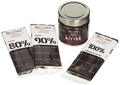 Set Degustazione Cioccolato Fondente Dark. Crema Spalmabile con Tre Tavolette 80%, 90%, 100%, Beppiani – Cioccolato Artigianale