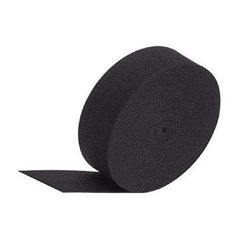 1 Roll Black 16.4 Ft Length 1.2 Inch Wide High Elastic Crochet Belt Flat Sewing Elastic Cord Stretch Knitting Ribbon Bands Latex Elastic Belt Trousers Waistband DIY Garment Craft Tools Accessories