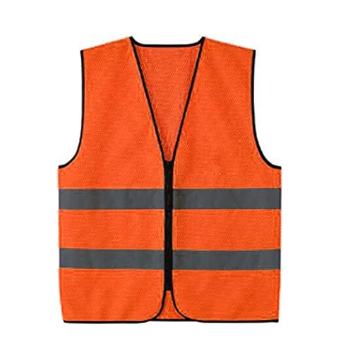 YUANLIN Chaleco Reflectante Chaleco de Seguridad Delantero con Cremallera de Alta Visibilidad con Tiras Reflectantes, Premium, 2 Colores Opcionales Creflectante Trabajo (Color : Orange)