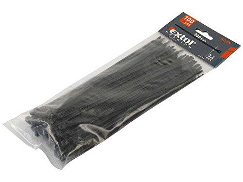 EXTOL PREMIUM Kabelbinder 4,8x400mm 100er Pack, schwarzes Nylon