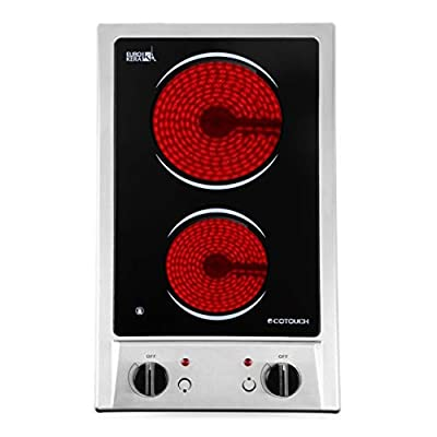 Electric Cooktop, ECOTOUCH 2 burner electric cooktop 120V Stove Top Built In, 12 inch Radiant Cooktop with Stainless Steel, Plug In