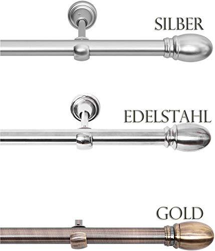 Rollmayer Edelstahl Vorhangstange/Gardinenstange Ø 19mm (520cm Aida, Edelstahl, 1-läufig) einfache Montage Verschiedene Größen und Endstücken Ohne Ringe!