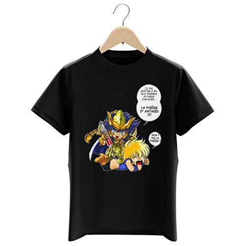 T-shirt Enfant Garçon Noir parodie Saint Seiya - Hyoga du cygne et Milo chevalier d'or du Scorpion - Non ! Pas la piqûre ! (T-shirt enfant de qualité premium de taille 13-14 ans - imprimé en France)