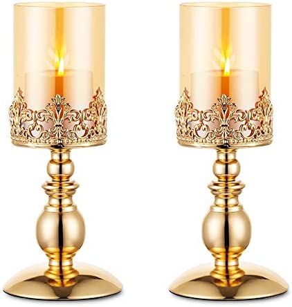 Nuptio Pillar Candle Holders with Glass Gold Hurricane Candle Holder Modern Home Decor Gifts product image