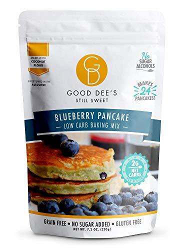 Good Dee's Blueberry Pancake Mix - Low Carb Keto Baking Mix (2g Net Carbs, 24 Pancakes)   Allulose Sweetened, Sugar Alcohol-Free, Gluten-Free & Grain-Free   Diabetic, Atkins & WW Friendly