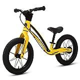 elvent® BalanceGo Kinder Sport Laufrad Lernlaufrad 14 Zoll für Asphalt Gelände, für Mädchen Jungen ab 3 Jahren, Luftreifen, Bremse, Qualität Magnesiumrahmen, Sattel höhenverstellbar (Schwefelgelb)