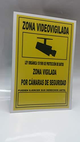 Cartel 30x20 cm Zona Videovigilada metálico de 0.6 mm de grosor