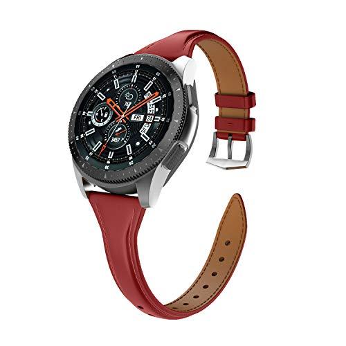 Isabake Leder Armband für Samsung Galaxy Watch 46 mm/Gear S3 Classic/Gear S3 Frontier für Damen, 22mm breites Schnellverschluss-Uhrenarmband mit Edelstahlschnalle(22 mm, rot)