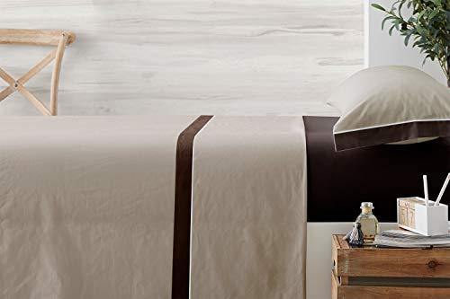 Vipalia Juego de Sabanas 3 Piezas. Bicolor Lisas 100% Poliester. Sabanas Encimera, Sabanas Bajera Ajustable y Funda Almohada. Regalo. Evoque. Color Beige/Chocolate. Cama 150 cm