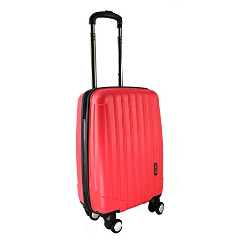 LuggageX Hard Shell Cabin Approved Lightweight Suitcase with 4 Double Wheels Hand Luggage, 53 cm, 27 L, Red