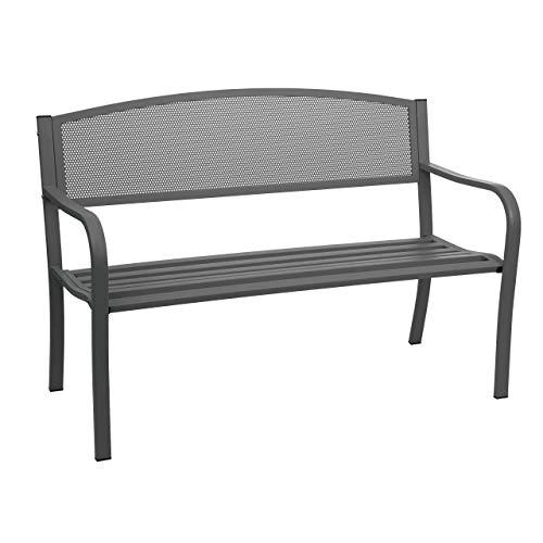 Mendler Gartenbank HWC-F52, Bank Parkbank Sitzbank, 2-Sitzer pulverbeschichteter Stahl ~ schwarz