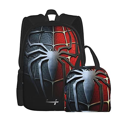 Spiderman Ensemble sac à dos et boîte à déjeuner pour homme et femme, durable, sac à dos de voyage, sac d'école pour adulte, sac à dos isotherme, sac à déjeuner grande capacité, sac réutilisable