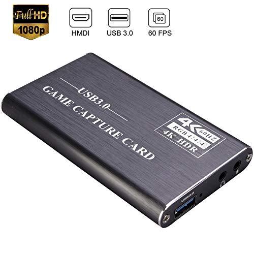 Kdely Game Capture Karte, HD Video Capture Card 1080P HDMI USB 3.0 Videoaufnahme mit Live-Übertragungen Video Recorder Gerät Streaming Capture Card für Windows Linux OS X System-Grau