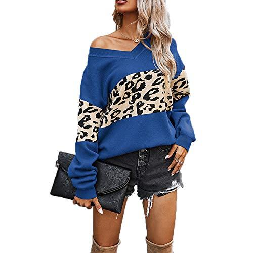 YZANYFQH Herbst Und Winter Damen V-Ausschnitt Farblich Passend Leopardenmuster Pullover Top Frauen
