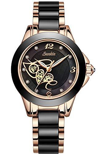 SUNKTA Reloj de Dama Impermeable Cuarzo analógico Oro Rosa Cerámica Reloj de Pulsera Señoras Chicas Casual Vestido Reloj Delgado Simple Negocios Negro