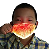 Shiningme Kids 7 Colors LED Luminous Fiber Optic Face Mask Rechargeable Boy Girl Childrens Rave Facemask for Party Festival (Red)