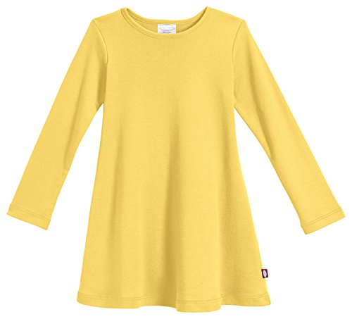 City Threads Girls' Cotton Long Sleeve Dress for School Party Dress Play Base Layer for Sensitive Skin SPD Sensory Friendly, Yellow, 10