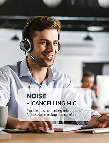 Mpow HC6 USB Headset with Microphone, Comfort-fit Office Computer Headphone, On-Ear 3.5mm Jack Call Center He   adset for Cell Phone, 270 Degree Boom Mic, in-line Control with Mute for Skype, Webinar