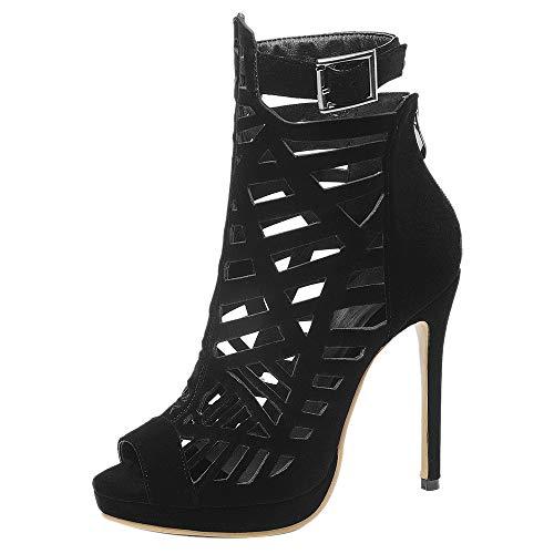 Kaizi Karzi Damen Mode High Heel Sommer Sandalen Peep Toe Gladiator Romisch Sandalen Riemen Black Gr 47 Asiatisch