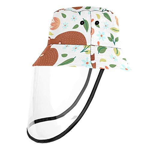 Kids Summer Play Hat UPF 50+ Bucket Travel Hat Removable Sun Cap for Boys and Girls - Cartoon Bear Baby Leaf Flower