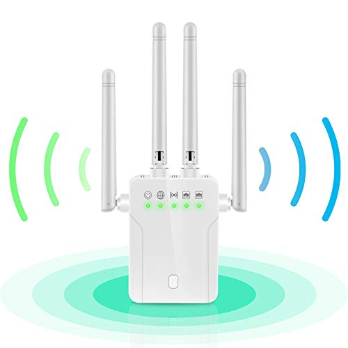 WiFi Booster - Internet WiFi Range Extender Super Signal Booster, 1200 MBPS 2.4 & 5GHz Wireless Internet Amplifier - Covers 20 Devices LAN/Ethernet Ports WiFi Repeater
