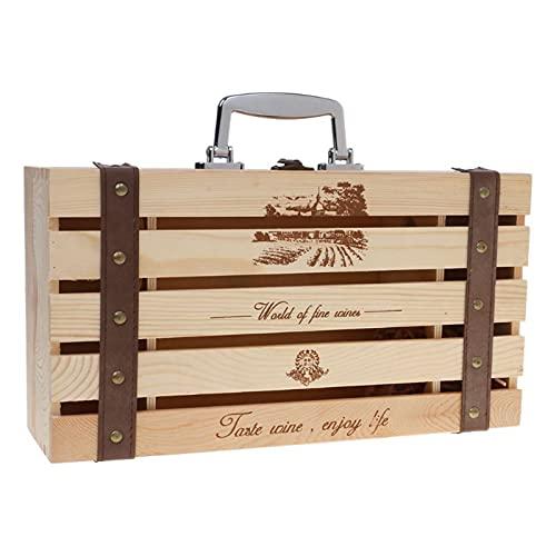 AIZYR Caja De Regalo De Madera De 2 Botellas De Vino, Caja De Vino Retro Vintage con Tapa Abatible para Fiesta De Cumpleaños, Boda, Aniversario