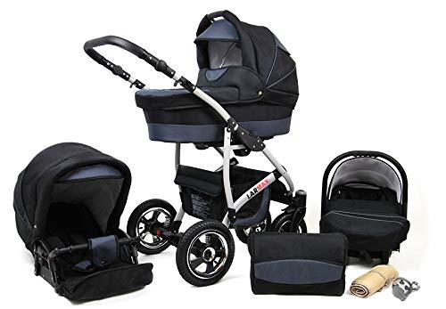Kinderwagen 3 in 1 mit Autositz Isofix Babyschale Buggy Larmax by ChillyKids Pannenfreie Gelereifen Schwarz & Graphit 3in1 mit Babyschale