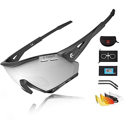 X-TIGER Occhiali Ciclismo CE Autentica Polarizzati per Ccchiali TR90 con 5 Lenti Intercambiabili Occhiali Bici Antivento e Antiappannamento Occhiali