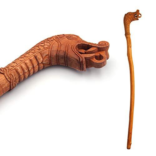 Norse Tradesman Solid Willow Wood Viking Cane - Rustic Dragon's Head Walking Staff