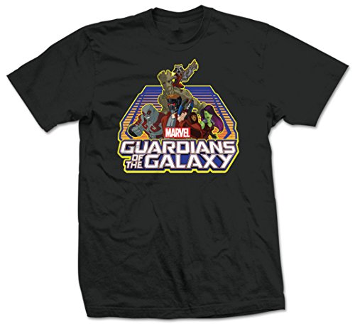 Marvel Guardians of The Galaxy Group Logo T-Shirt, Noir-Noir, Medium Homme