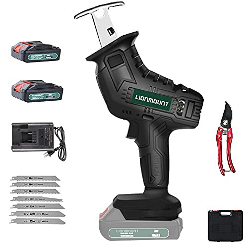 Reciprocating Saw, Lionmount 20V 2.0Ah Cordless Li-Ion Battery Powered Sawzall, LED Light, 7pcs Saw Blades, for Wood & Metal Cutting, Hand Pruning Shears (2 Batteries)