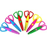 com-four 6X Bastelschere mit verschiedenen Schnittmustern - Kinderschere für kreatives Basteln - Motivschere für Fotogestaltung (6 Stück - Bastelschere bunt)