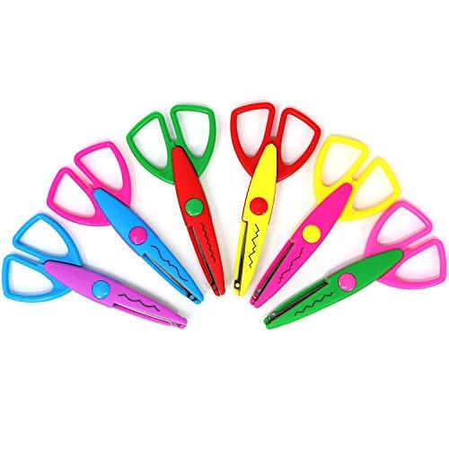 com-four® 6X Bastelschere, Büttenscheren mit vielen Schnittmustern - Bunte Kinderschere für kreatives Basteln - Dekor- und Motivschere für Fotogestaltung (6 Stück - eckiger Griff - 6 Muster)