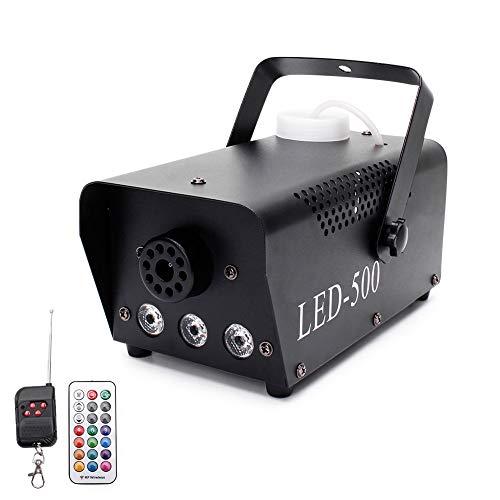 Nebelmaschine, UKing Nebelmaschine mit Drahtloser Fernbedienung und LED-Licht mit Fernbedienung, 500 WATT Stabil und Tragbar, Geeignet für Party, Weihnachten, Hochzeitsfeiern und Bühnenaufführungen