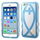 MYBAT Rubberized T-Light Blue/Solid White Fish Hybrid Protector Cover compatible with Apple iPhone 6 4.7''