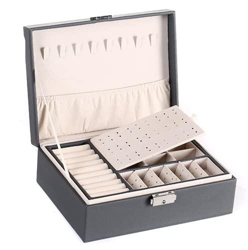 H-basics Joyero – en gris – Vintage organizador de joyas para pendientes, collares, anillos, etc. – Joyero para mujeres y niñas