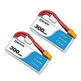 BETAFPV 2pcs 300mAh 2S Lipo Batterie HV Batterie 45C 7.4V mit XT30 18AWG Silikon Draht für 2S Whoop FPV Racing Drohne Beta75X Beta75 Pro 2