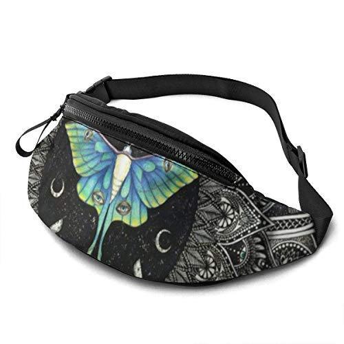 KKLDOGS Lunar Motte mit Hintergrund Mode Casual Hüfttasche für Männer Frauen Fitness Gürteltasche Laufen Taille Packs Sport Reise Tasche