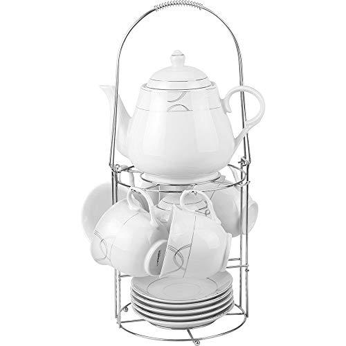 Guilty Gadgets - Juego de té de cerámica con Soporte para cafetera/Tetera, azucarero, Taza y platillo, Juego de Utensilios de Cocina