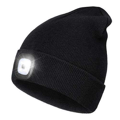 Led beanie hat with light,unisex usb rechargeable hands free 4 led headlamp cap winter knitted night lighted hat flashlight women men gifts for dad him husband