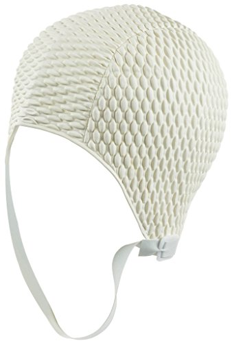 Latex Swim Cap - Women Stylish Swimming Cap Great for Ladies, Perfect to Keep Hair Dry - Suitable for Long Hair - Bubble Crepe with Chin Strap - White